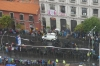 Our vantage point of the demonstration and the Daka Rally from the Hotel Presidente (Through a dirty window), La Paz BO
