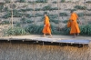 Monks on Bamboo Bridge to swimming beach, Luang Prabang LA