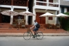 Bruce on his green hire bike, outside our hotel, Luang Prabang LA