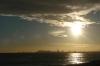 Afternoon winter sun from Badalona looking towards Barcelona ES