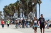 Saturday crowd on Venice Beach boardwalk