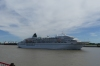 Cruise boat arriving, from the Natchez Paddle Steamer, New Orleans LA USA