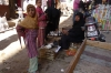 Two girls and a woman selling pigeons at the Luxor Souk