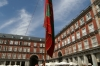 Sunday morning and Plaza Mayor was full of colourful people.  This group were showing off their ability to balance a very heavy flag pole. ES