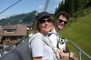 Thea, Hayden & Pepe on the chairlift in Malbun, Leichtenstein