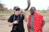 Bruce with the warriors in a Masai village, Masaimara, Kenya