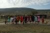 Thea singing with the Masai women, Masaimara, Kenya