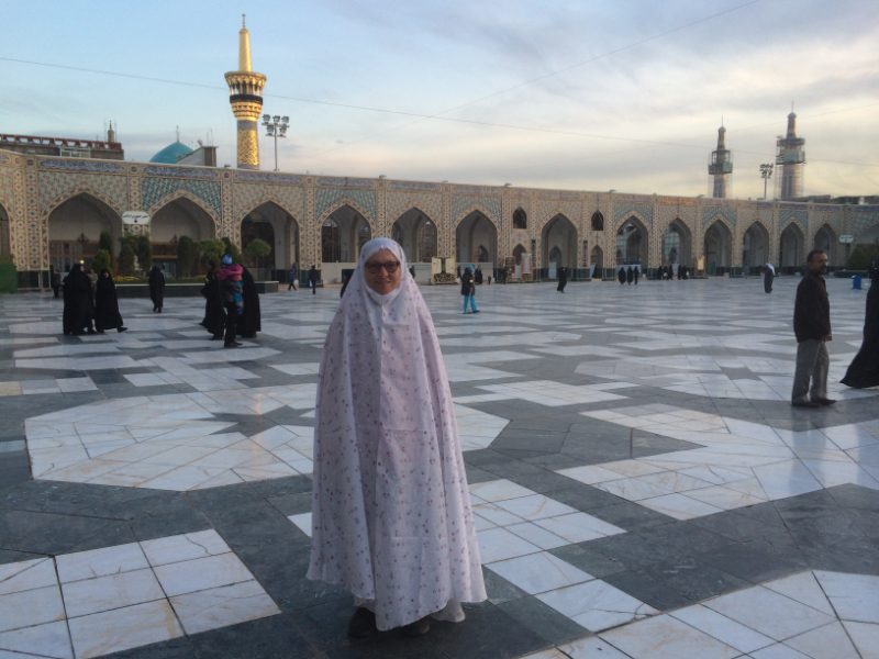 Thea in chardor at Haram-e-Razavi shrine