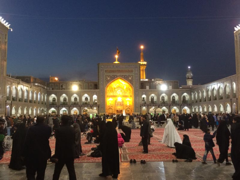 The Tala (Golden Porch) & Ingilab Islami Courtyard. Imam Reza Shrine and major pilgrimage place in Iran