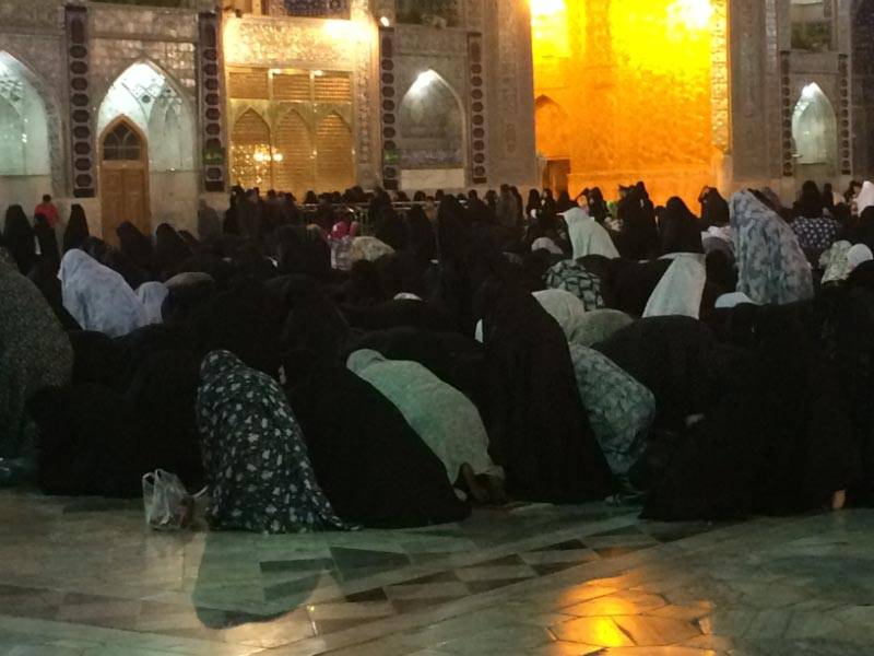 Prayer time for women at the Imam Reza Shrine and major pilgrimage place in Iran