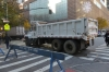Trucks as barriers to the Thanksgiving Parade around 65th Street, NY