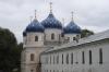 Beautiful spires in the Yuriev (St George) Monastery near Novgorod.  This was the main monastery of medieval Novgorod the Great of Russia. It stands south of the city on the left bank of the Volkhov River near where it flows out of Lake Ilmen.  RU