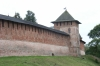 The Kremlin wall in Novgorod RU.  We had dinner in a restaurant in a tower like this one.