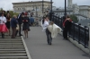 Luzhkov bridge on the Vodootvodny canal is a favourite stop for the wedding parades. Moscow RU