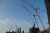A maze of cranes at the West Side Line. The High Line walk, New York