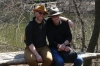 The hats have it. Evan and Bruce in Hallett Nature Sanctuary, Central Park, New York US
