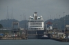Cruise ship ahead of us in the first lock of the Panama Canal