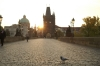 Early morning on the Charles Bridge in Prague CZ.