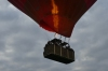 Hot air balloon takes off near Willen Lake, Milton Keynes GB