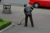 Man sweeping, statue. Parque Central
