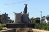Dog on a sack and the Town Hall, Warracknabeal VIC, AU