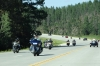 Bikes running between Crazy Horse and Mount Rushmore in the Black Hills