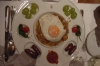A Catalan dinner - breadcrumbs, egg and other delicacies. Sos del Rey Catolico ES