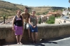 Elisse, Hayden & Thea in the village of Sepulveda, overlooking the gorge of Rio Duration. ES