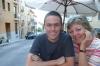 Hayden & Thea in a street cafe in La Granja.  Dusk. ES