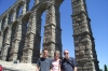 Hayden, Thea & Bruce at the Roman Aqueduct in Segovia ES