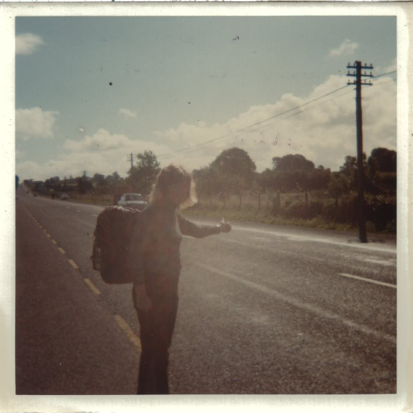 Another bad photo of me hitching, just out of Longford, Ireland