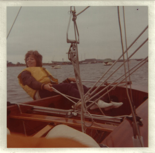 A mock-up of me at the helm of Tim's fireball on the Crouch, Fernbridge, Essex, England