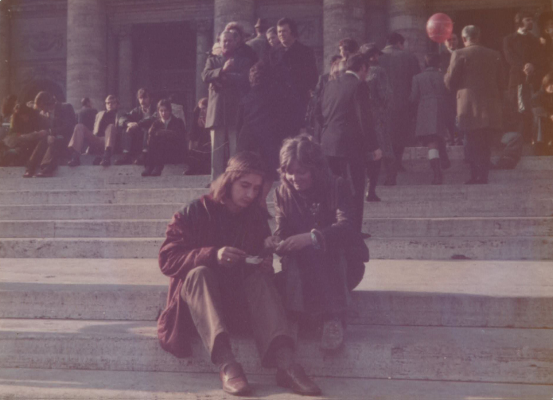 Tim and Thea enjoying our 'Christmas dinner' on the steps of St Peter's and the Italian's watching in amazement. Rome, Italy