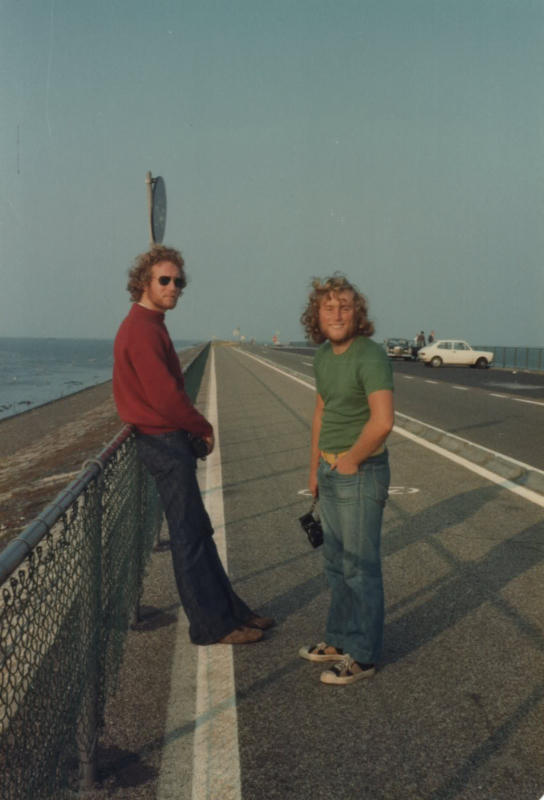 A couple of smooth tourists on the Great Dyke, Holland.