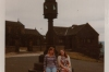 Judith and Thea under the sun dial on the hill at Mottram, cheshire, England