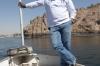 Wael on a boat on the Aswan Dam