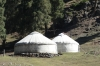 Yurt tents at the Grand Canyon of Urumqi