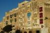 Colourful balconies on houses facing Marsamxett Harbour, Valletta MT