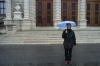 It rained in Vienna AT!  Thea and her little umbrella outside the Kunsthistorisches Museum (Museum of Art History).