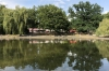 Lake and cafes in Friedrichshain Volkspark, Berlin DE