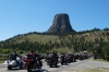 Bikers queuing to visit Devil's Tower WY