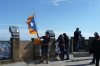Terrace on Tibidabo and Catalan flag - it was very windy